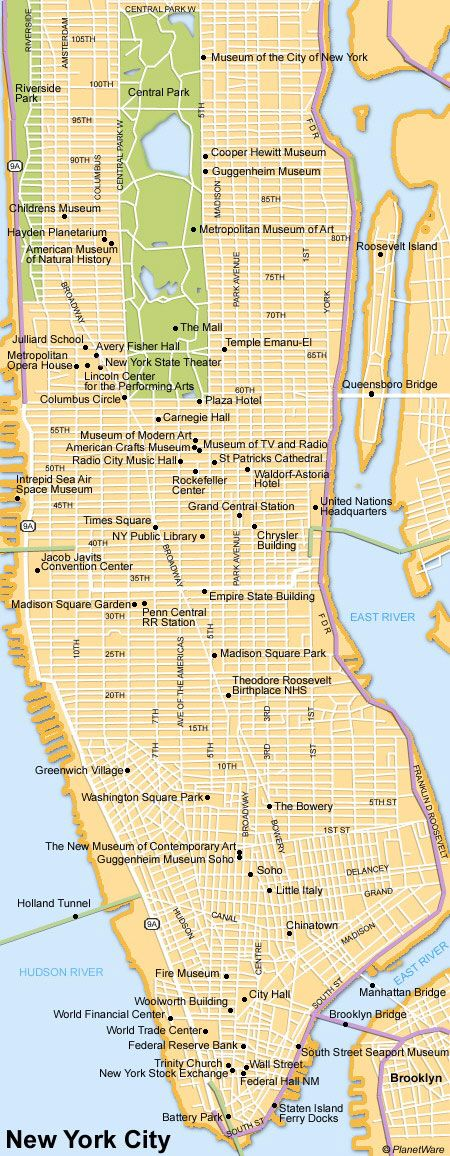 Map of new york city attractions planetware for Attractions new york city
