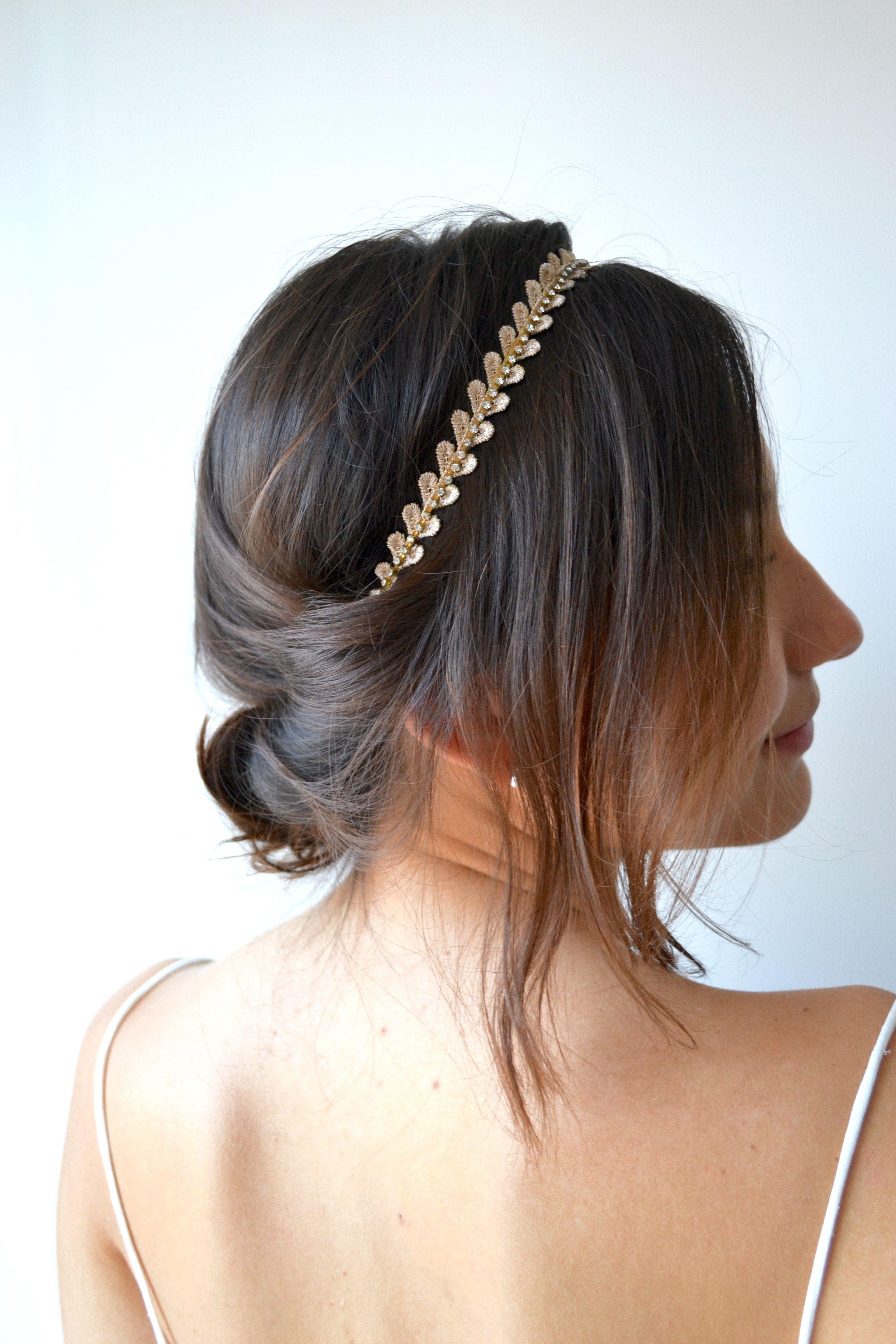 Femmes Feuilles Head Chaîne de bijouterie Serre-tête Mariage Head Piece Hair Accessory