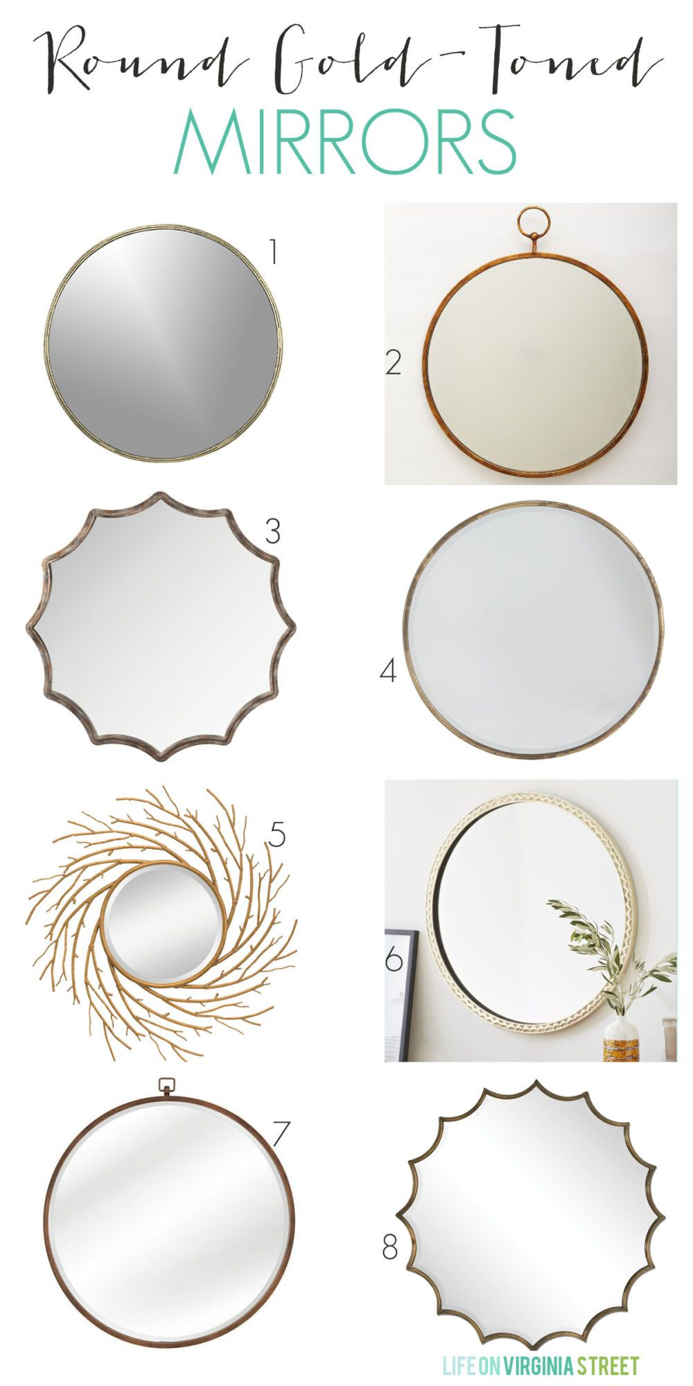 Best Gold Round Mirrors for Any Room is part of Gold Home Accessories Life - Are you on the hunt for a round mirror  Here are the best gold round mirrors I found during my search for the perfect accent piece for our dining room  Each of these mirrors offers beauty and versatility to look great in any space!
