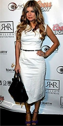 e8d58e84707 Fergie in a white Black Halo Jackie O dress