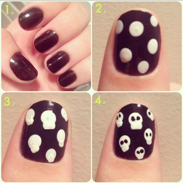 Halloween Manicures, Manicure Tutorials, Nail Art Hacks - Halloween Manicures, Manicure Tutorials, Nail Art Hacks Skull