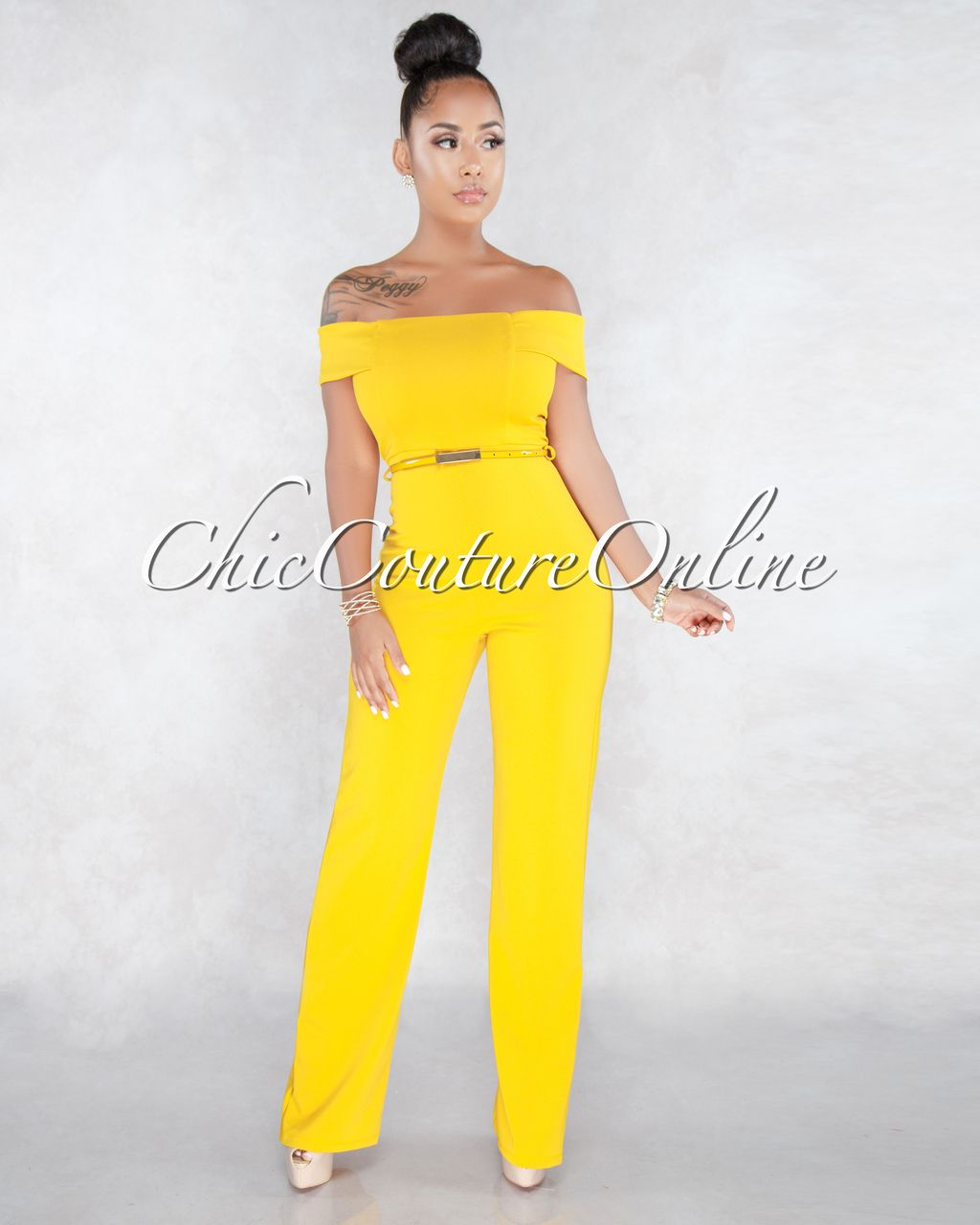 6833bc9dd968a Chic Couture Online - Janna Mustard Yellow Off The Shoulder Jumpsuit ...