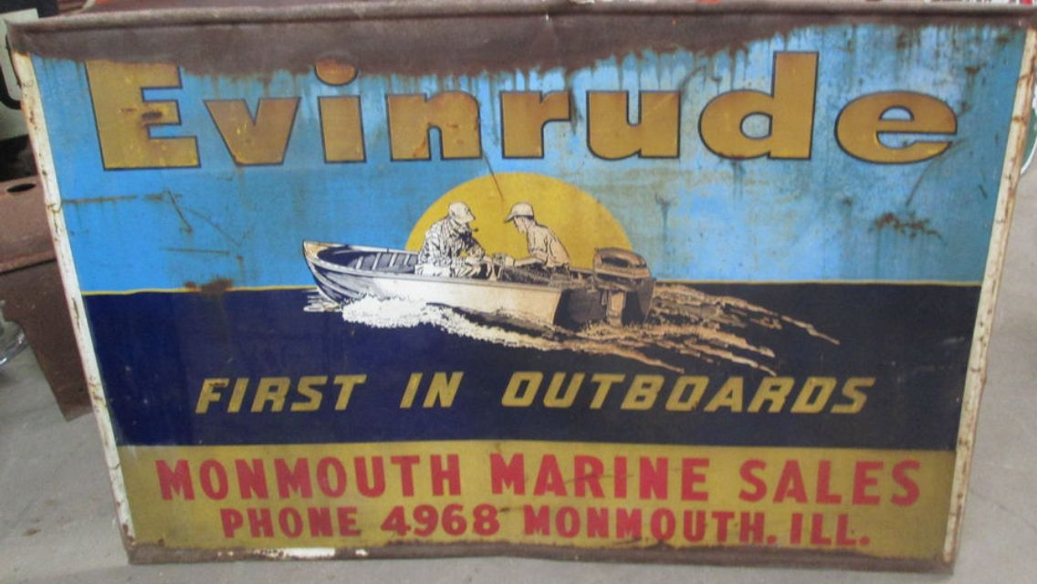 Evinrude monmouth il marine sign old outboards pinterest for Affitti cabina lago kerr scott