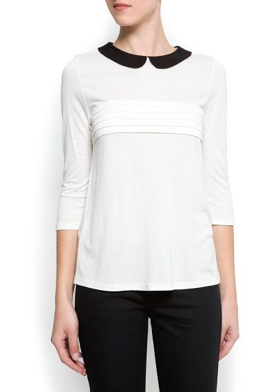 Contrast Collar Blouse Women Mango Usa Clothes Mango Clothing Outfit Accessories