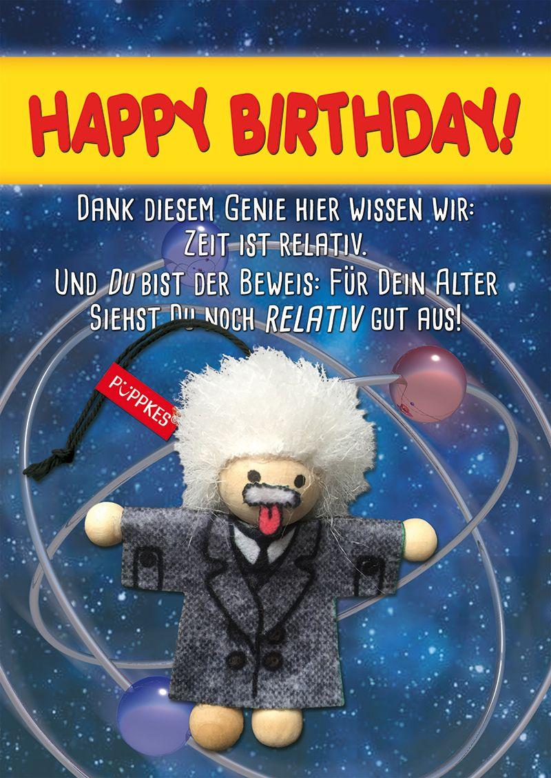 Einstein #Genie #nerd #Gruß #HerzlichenGlückwunsch #Geburtstag #Humor  #Püppkes #
