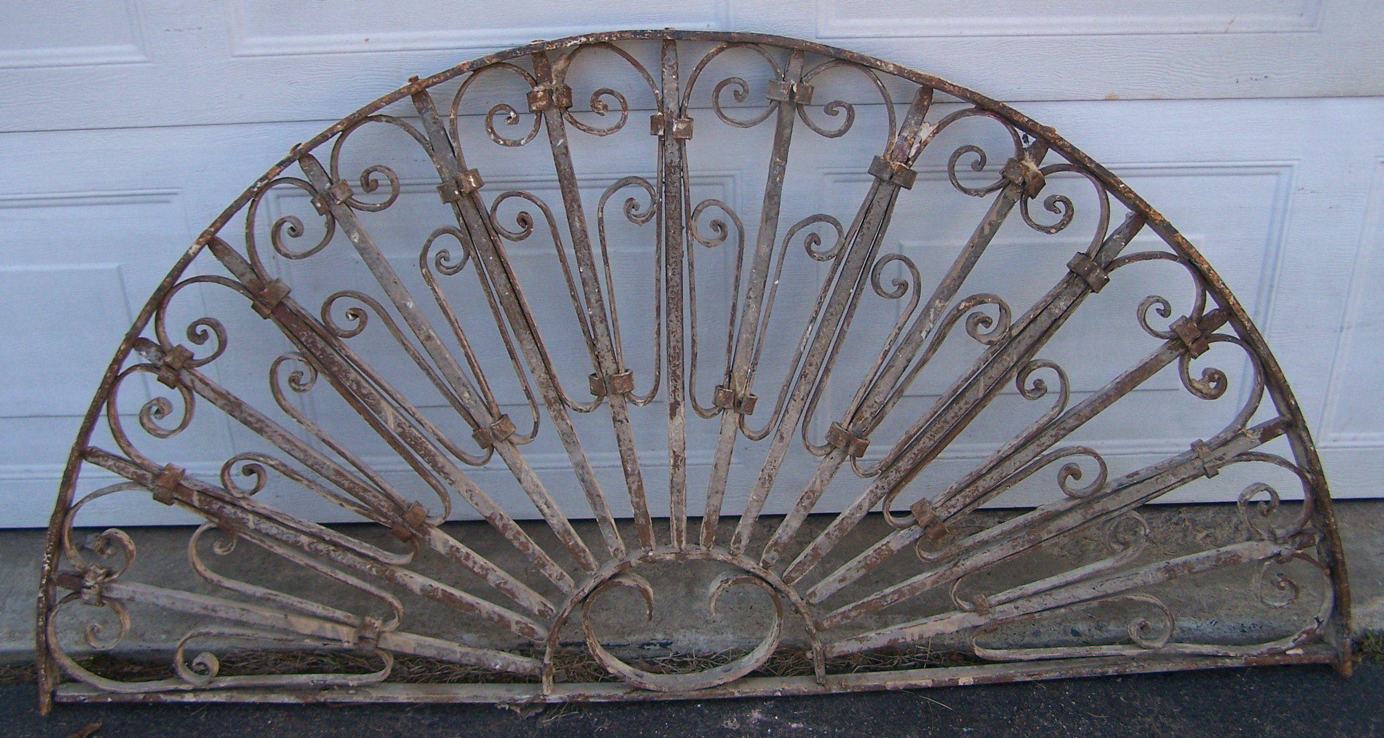 Antique Ornate Transom Iron Window Antique Iron Door Header Half Sash Transom Window Rustic Half Moon Mediterranean Iron Windo Iron Doors Antique Iron Antiques