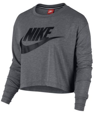 58ad0d01d GREY XS: Nike Sportswear Essential Long Sleeve Cropped Top ...