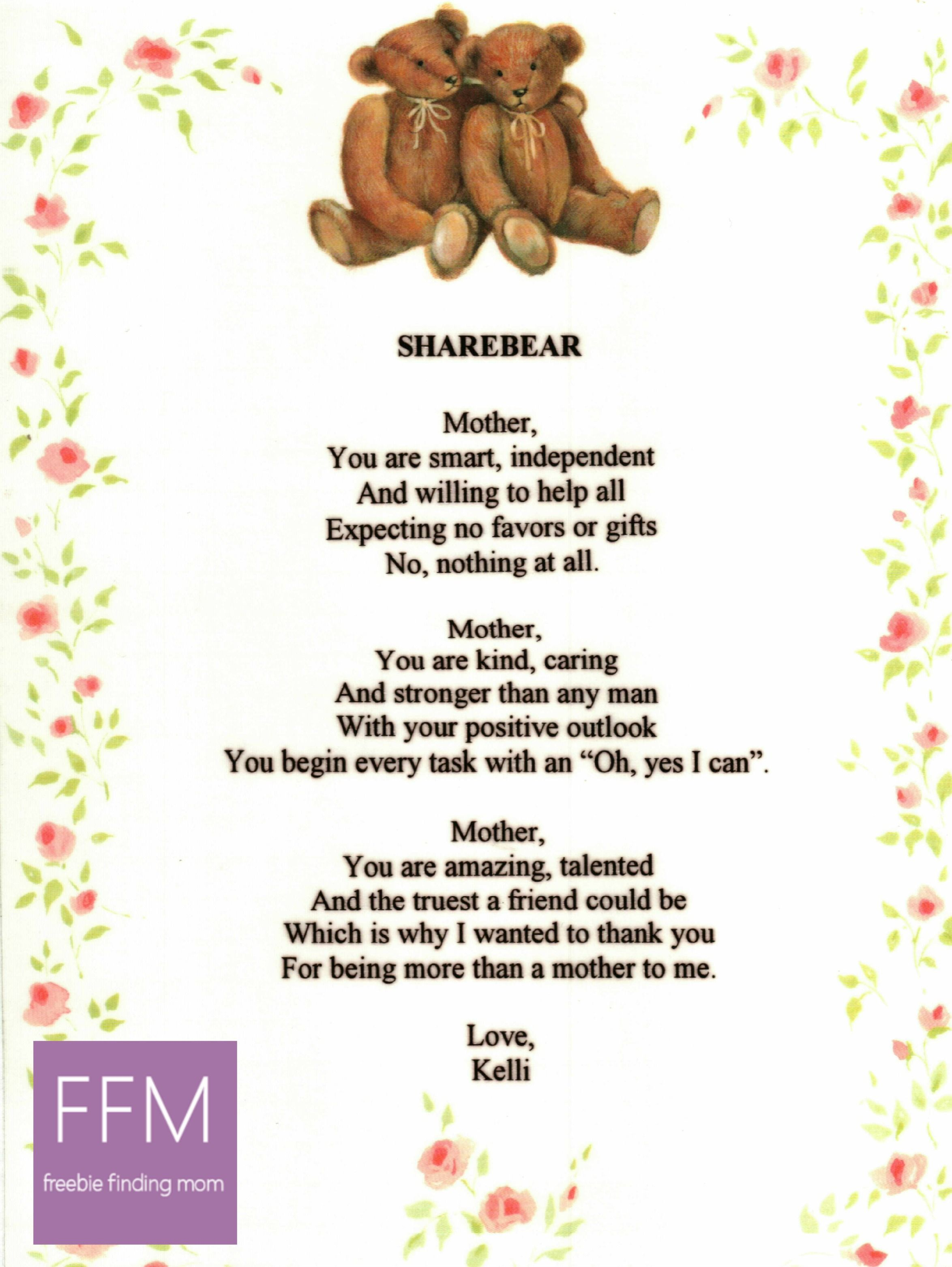 A Mother's Day Poem From Freebie Finding Mom + Mother's Day Gift ...