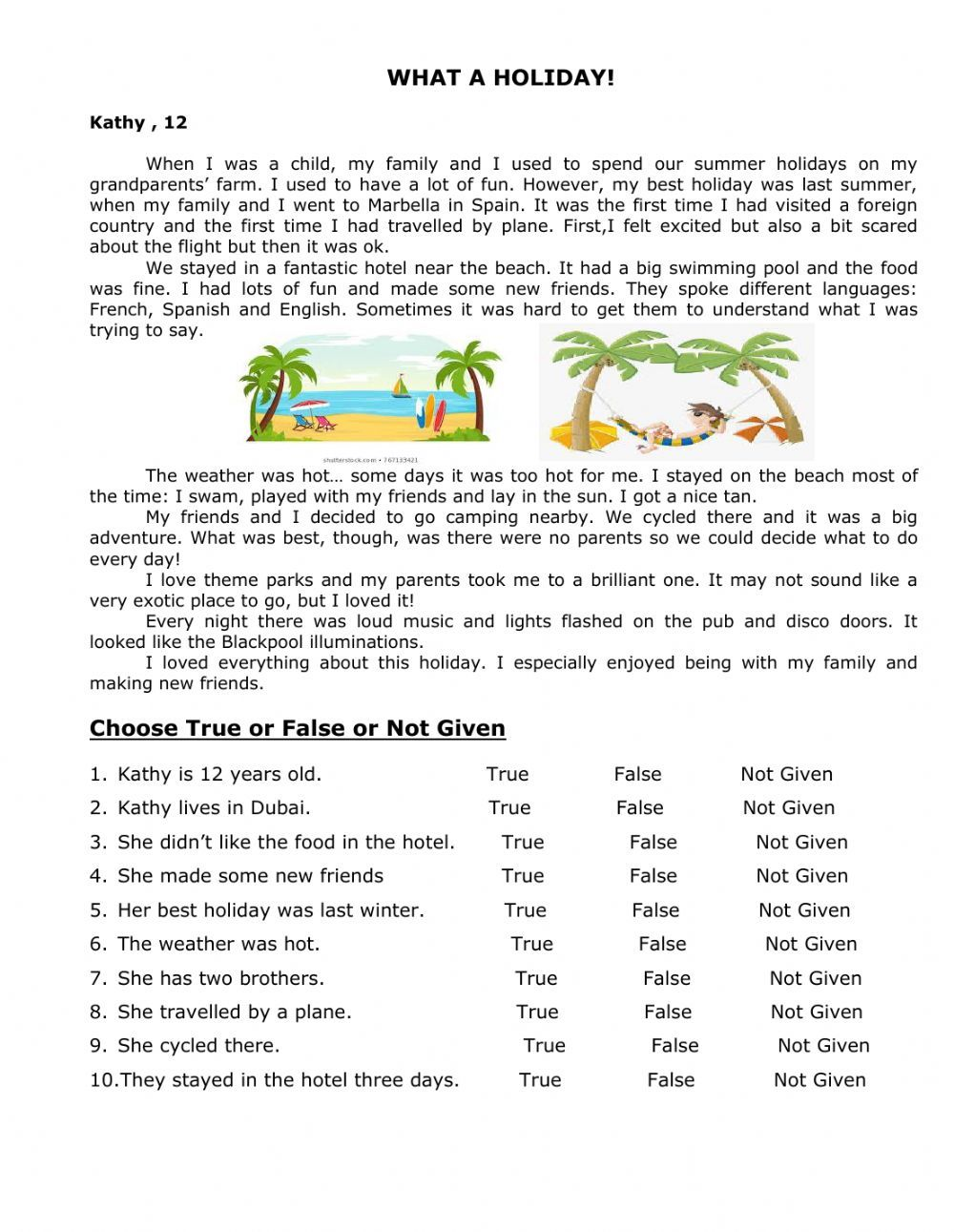 Reading online worksheet for grade7. You can do the exercises online or  download the wo…   Holiday reading comprehension [ 1291 x 1000 Pixel ]