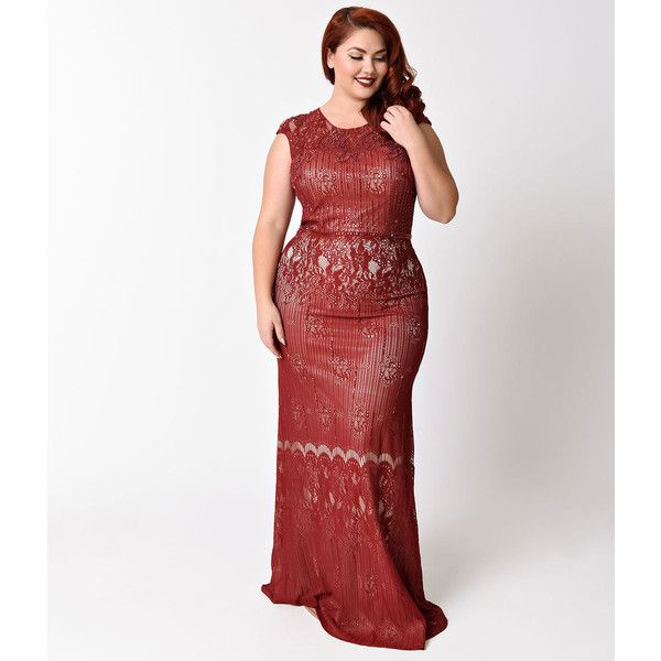 Plus Size Burgundy & Nude Embellished Lace Gown ($218) ❤ liked on ...