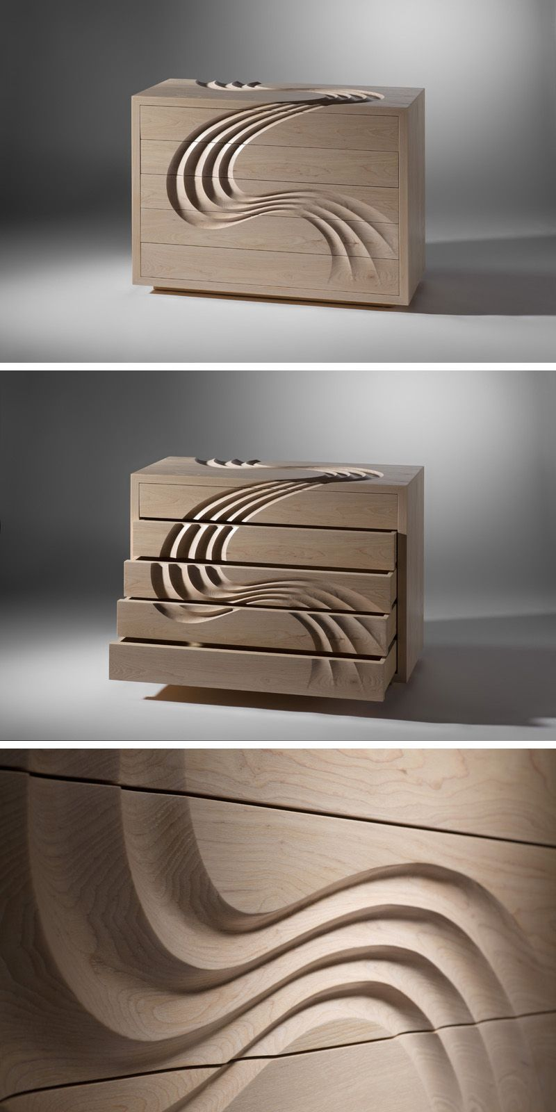 Martin Gallagher Designs A Chest Of Drawers With Hand Sculpted Channels