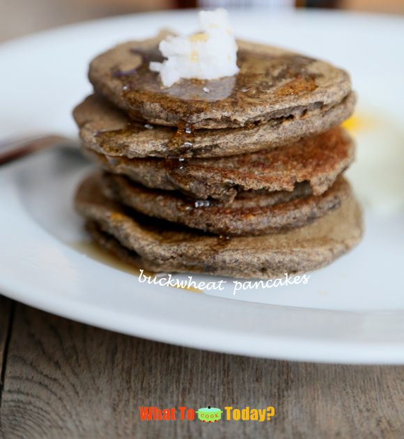 BUCKWHEAT PANCAKES. I usually eat them with some coconut oil instead of butter and some maple syrup. Super delicious