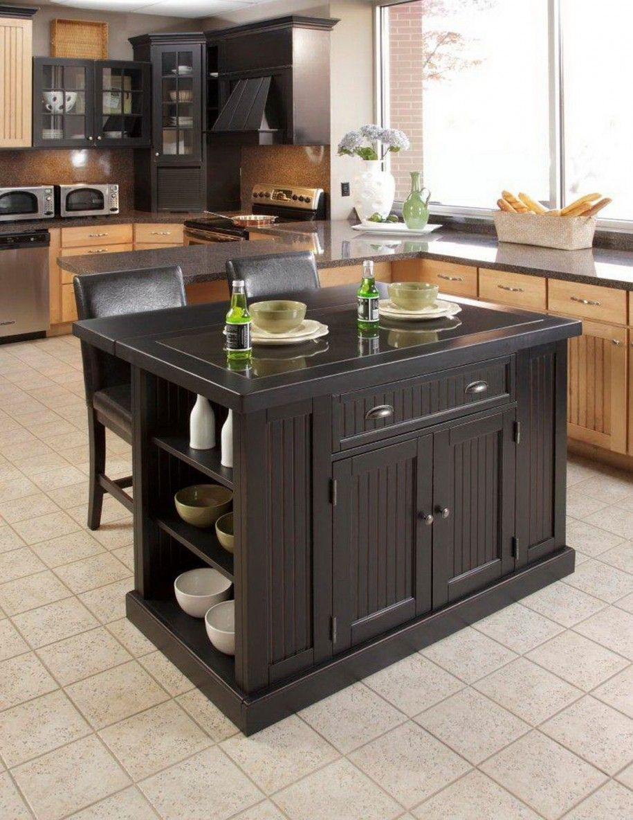 Exceptional Home Styles Nantucket Distressed Black Finish Kitchen Island With Two Bar  Stools