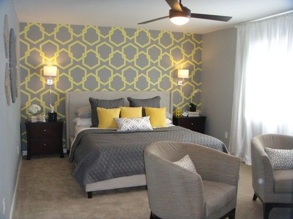 Grey and yellow wallpaper google search home design pinterest gray bedroom bedrooms and - Gray and yellow wallpaper ...