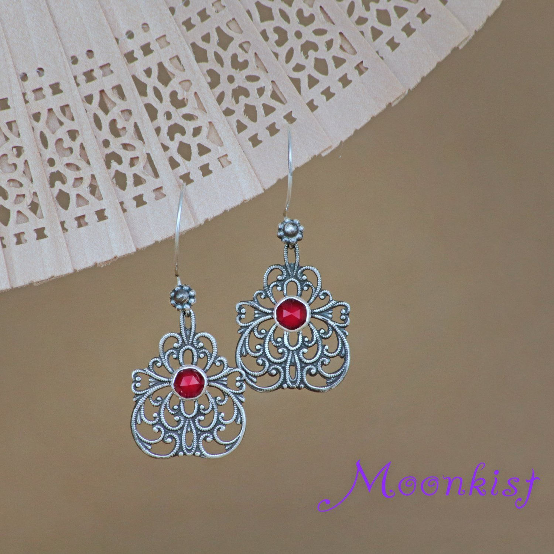 Silver Boho Dangle Bridal Filigree Butterfly Earrings - Garnet Drop Earrings
