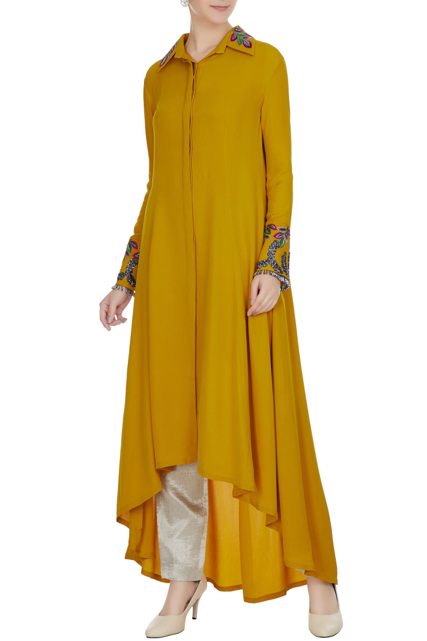 62ce755b164 Buy Mustard yellow double georgette resham embroidered tunic by Manish  Malhotra at Aza Fashions Buy MUSTARD