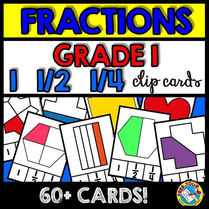 Grade 1 fractions clip cards (fractions for 1st grade) beginner ...
