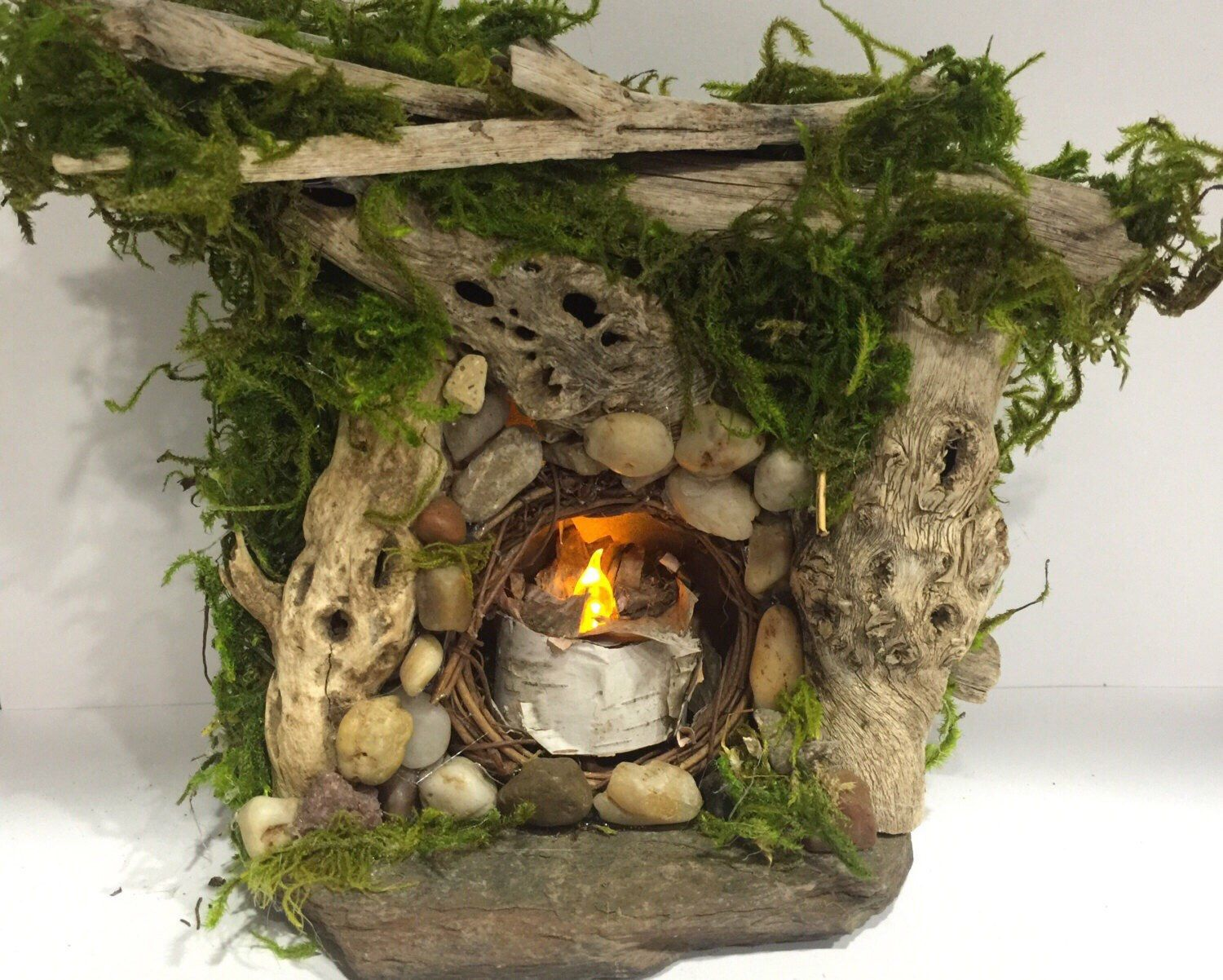 Rustic /Shabby Chic /Enchanted Forest Fairy Door & Lighted!! Hobbit house!! Rustic /Shabby Chic /Enchanted Forest ... Pezcame.Com