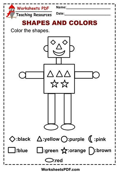 Shapes Worksheets for Kindergarten Pdf Shape Robot Color ...
