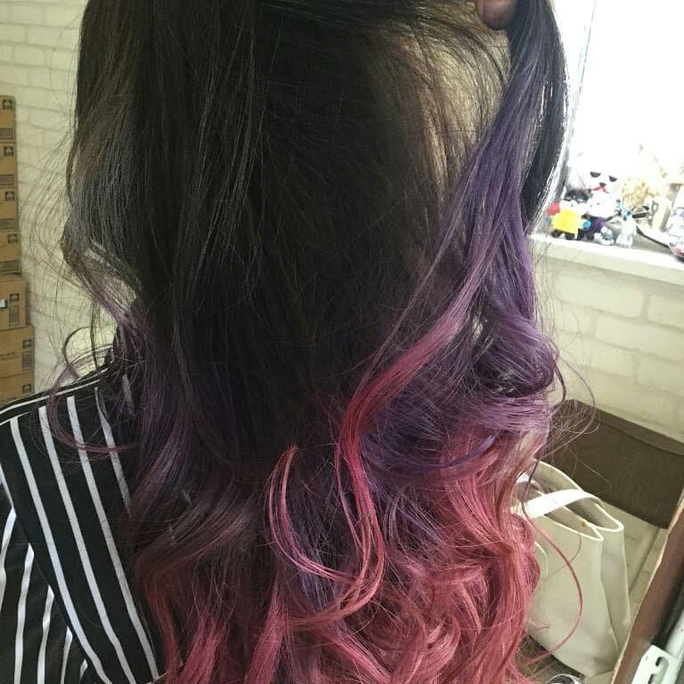 髪染めてきたよ ヘアカラー グラデーションカラー グラデーションヘアー ピンク むらさき マニパニ マニパニピンク マニパニ紫 Newカラー ヘアカラー ヘアー かっこいい髪型