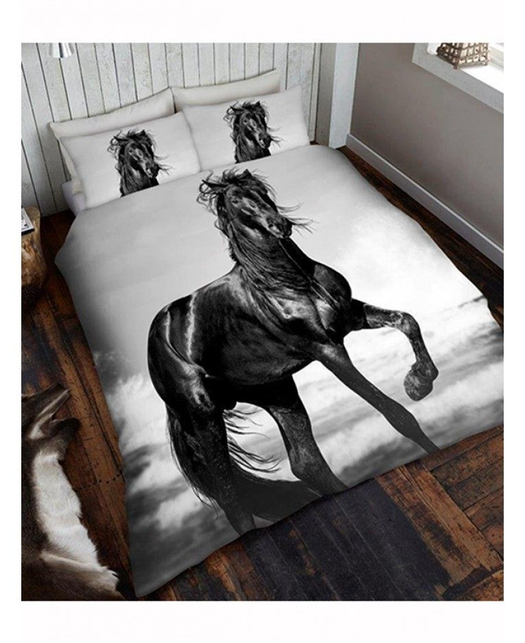 This Stunning Black Horse Double Duvet Cover And Pillowcase Set Is Made From A Polycotton Blend
