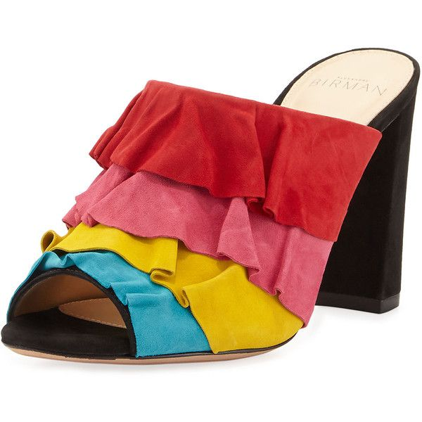 Alexandre Birman Mili Ruffled Suede Mule Sandal ($625) ❤ liked on Polyvore featuring shoes, sandals, multi, shoes sandals, open toe mules shoes, color block sandals, block heel shoes, ruffle sandals and suede sandals
