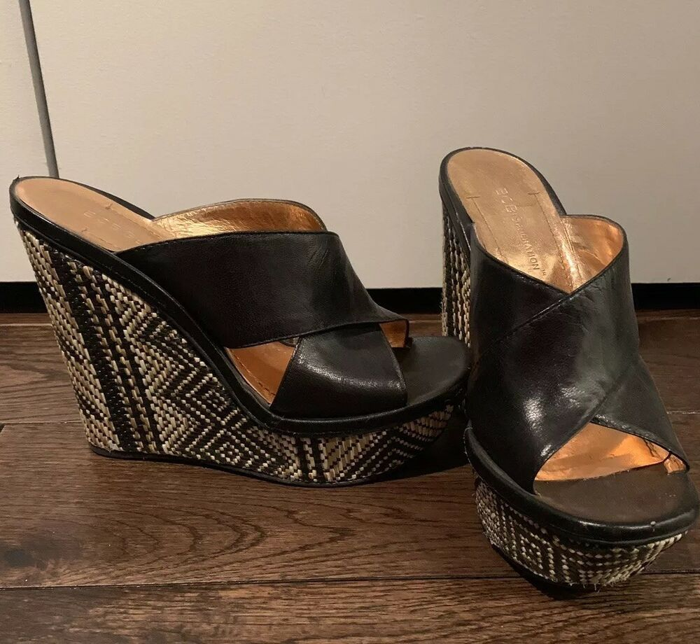 e284470971 BCBG Generation Black Leather Slide Wedge Sandals Size 6.5 Aztec stitching # BCBGMAXAZRIA #Slides #