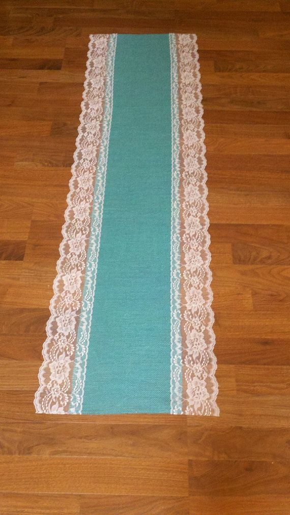 Rustic Charm Wedding Table Decor Teal Turquoise Blue Burlap Lace Table  Runner White Lace Rustic Country Wedding Jade, Aqua Burlap And Lace