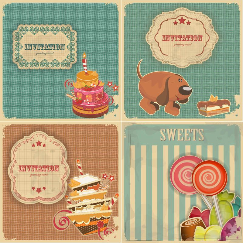 Vintage Birthday Invitation And Greeting Cards Vector Free For