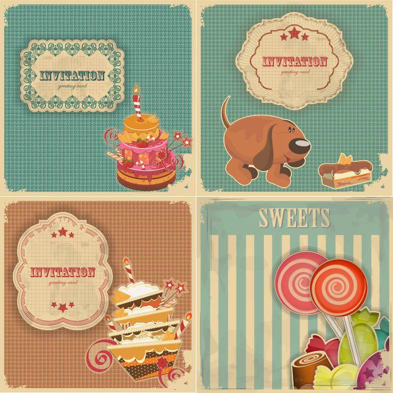 Vintage Birthday Invitation And Greeting Cards Vector Free For - Birthday invitation vector free