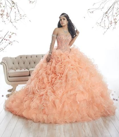 1c65a7f64a Strapless Ruffled Quinceanera Dress by House of Wu 26872 ...