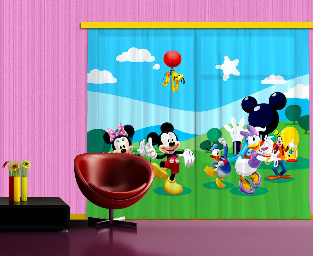 Mickey mouse and friends kids window curtain. New… | Kids Curtains ...