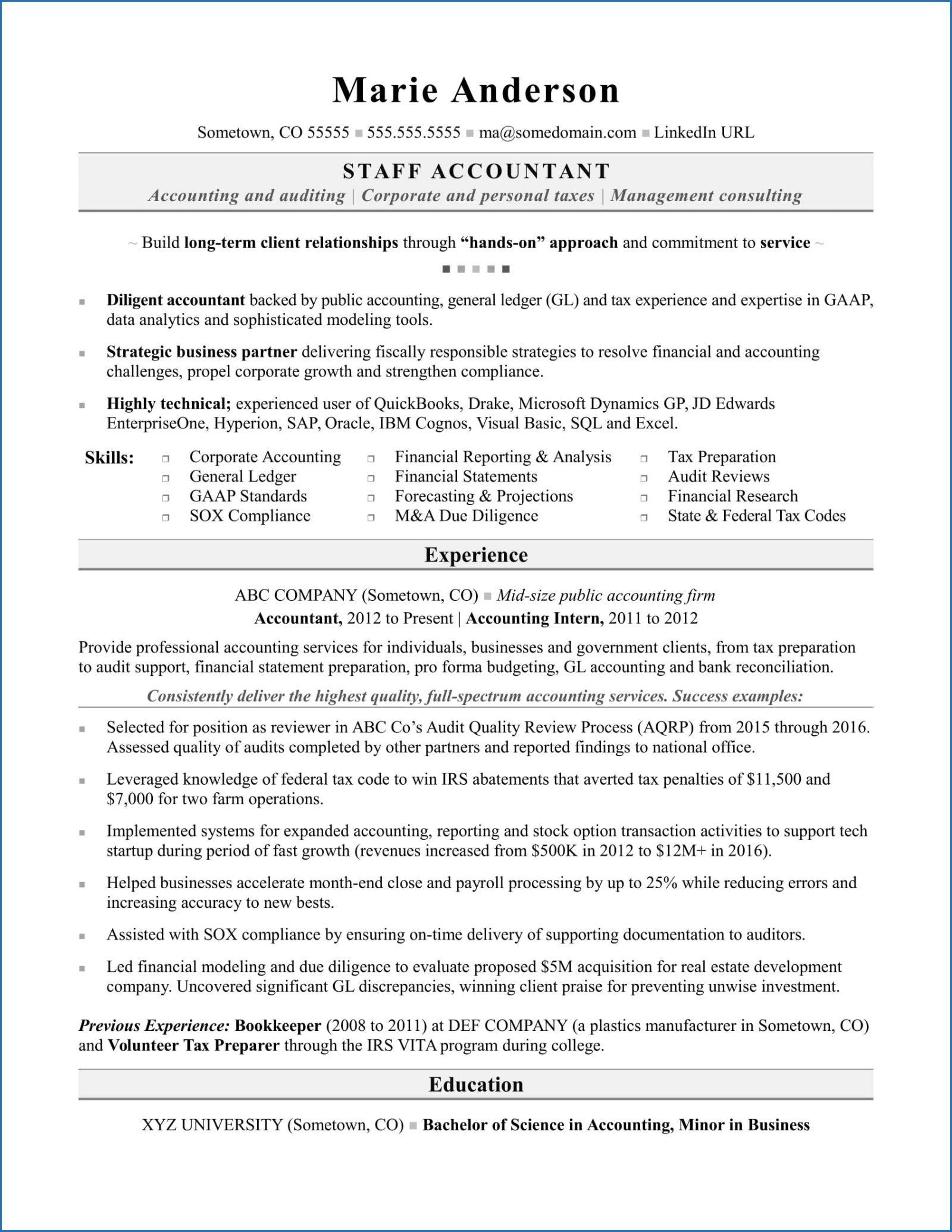finance major resume examples