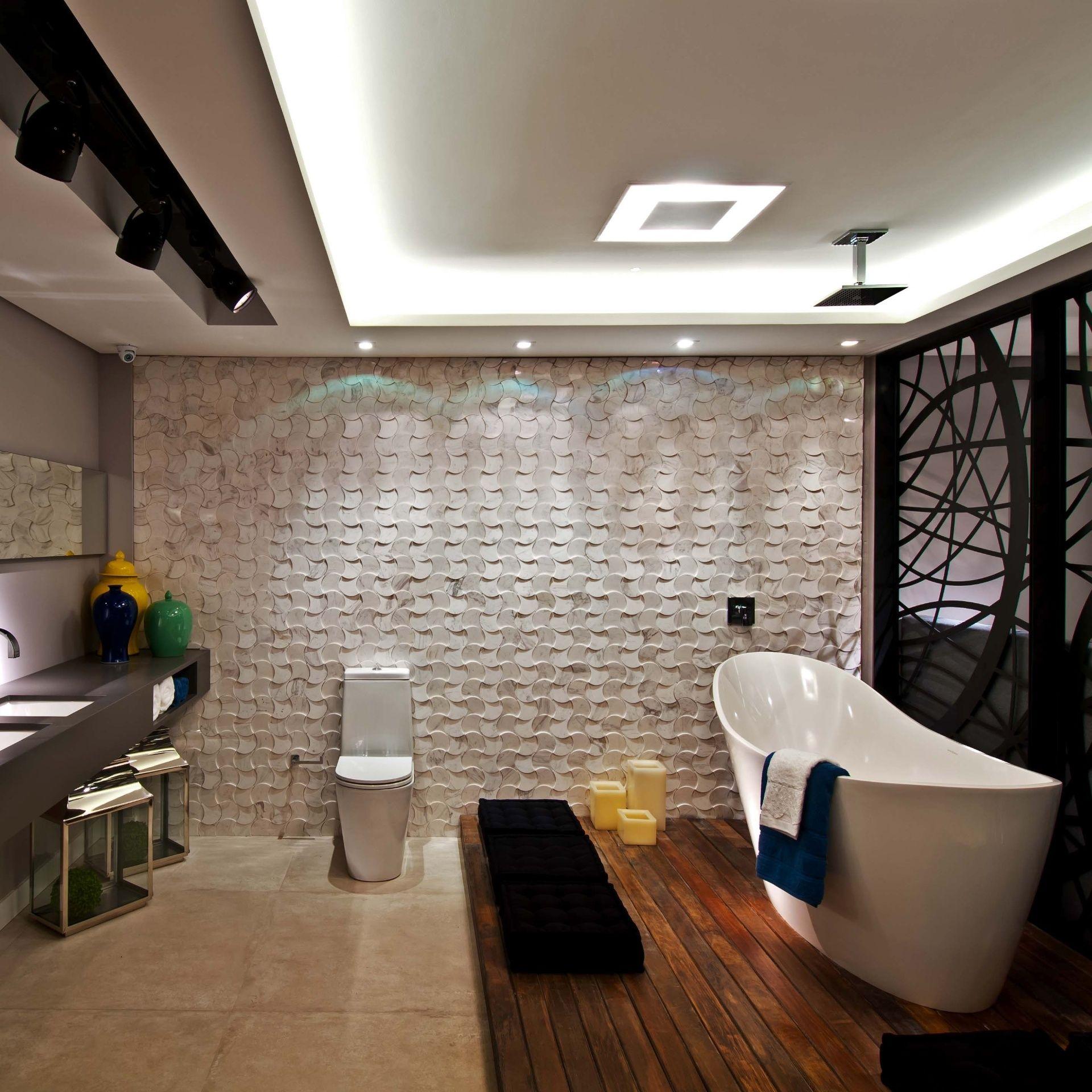 Ambientes Das Diferentes Edi Es Da Casa Cor Quarto Master  ~ Quarto Com Banheira Integrada E Decoração Japonesa Quarto