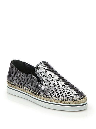 NIB Jimmy Choo Dawn Leopard Metallic Print Leather Espadrille Sneakers 6.5  36.5 #JimmyChoo #Espadrilles