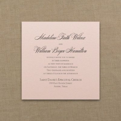 Blush and Neutral Wedding Ideas - Serene Love - Imperial Invitation - Pastel Coral Shimmer | Occasions In Print, LLC (Invitation Link - http://occasionsinprint.carlsoncraft.com/Wedding/Wedding-Invitations/3214-MM1331332515-Serene-Love--Imperial-Invitation--Pastel-Coral-Shimmer.pro)