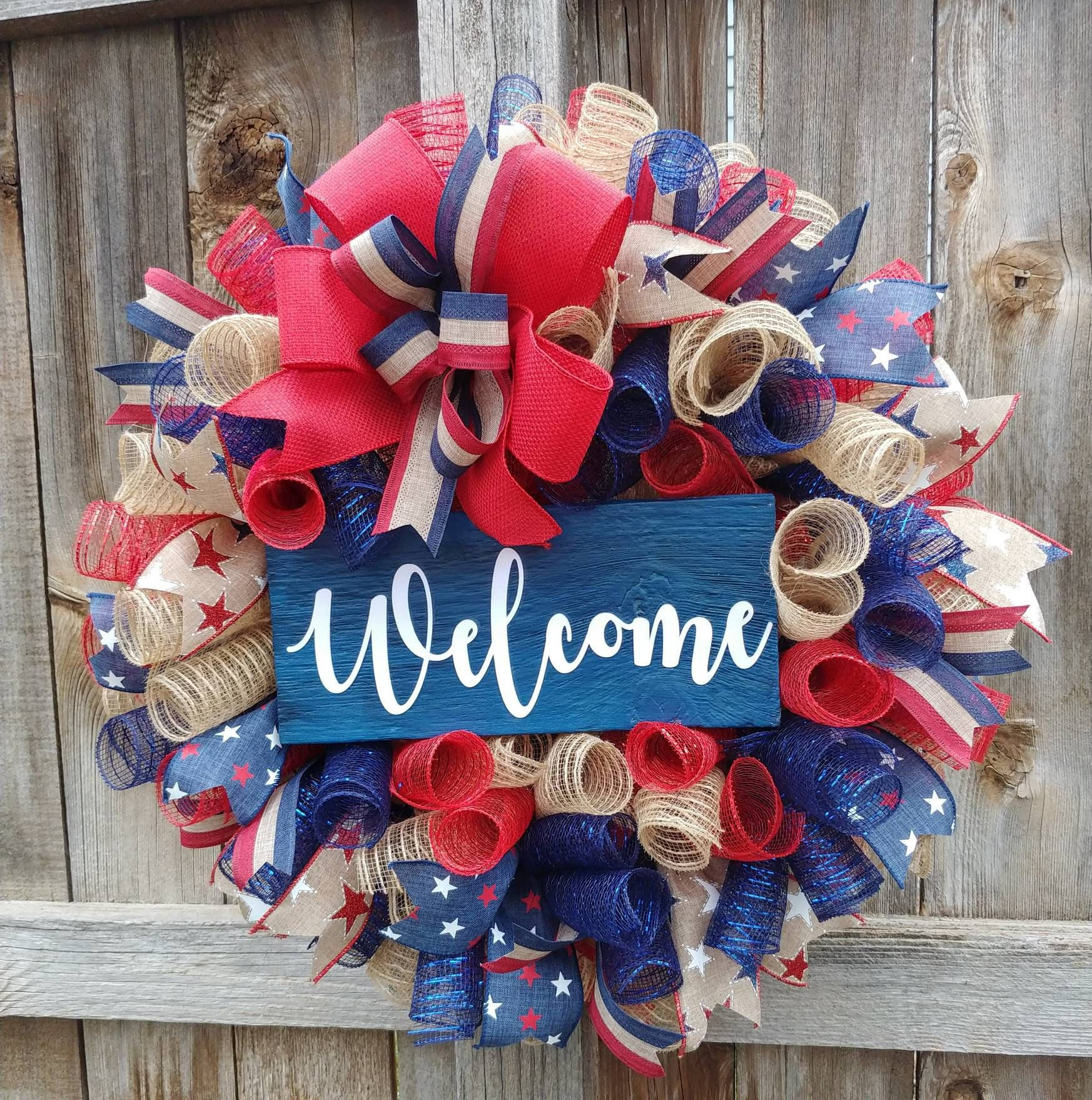 Photo of Patriotic welcome wreath, summer reception, rustic patriotic wreath, patriotic burlap wreath, 4th of July wreath, Americana wreath