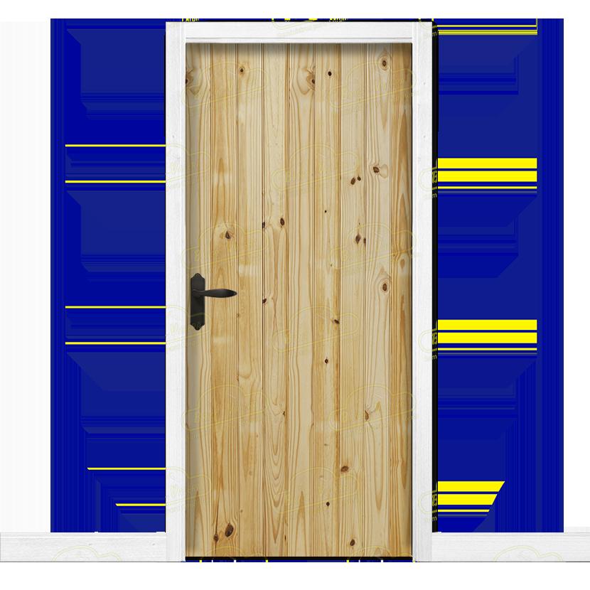 Puerta interior r stica en madera maciza de pino modelo pm for Costo de puertas de madera para interiores
