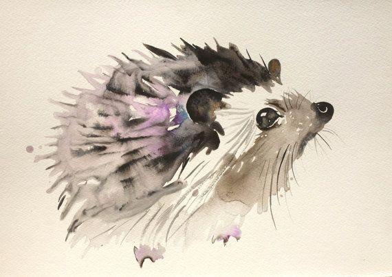 Gewohnheitstier, Aquarellmalerei-Gouachetintenkunst-Igel-Eichhörnchenweihnachtsrotwildgeweih-Eulenrattenillustration des Tierporträts ursprünglich – Art