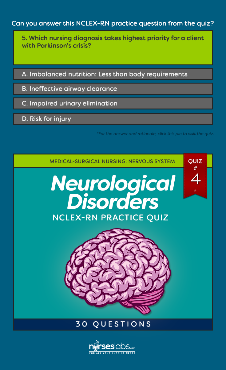 Neurological Disorders Practice Quiz #4 (30 Questions) Nursing Exam, Nursing  Care Plan