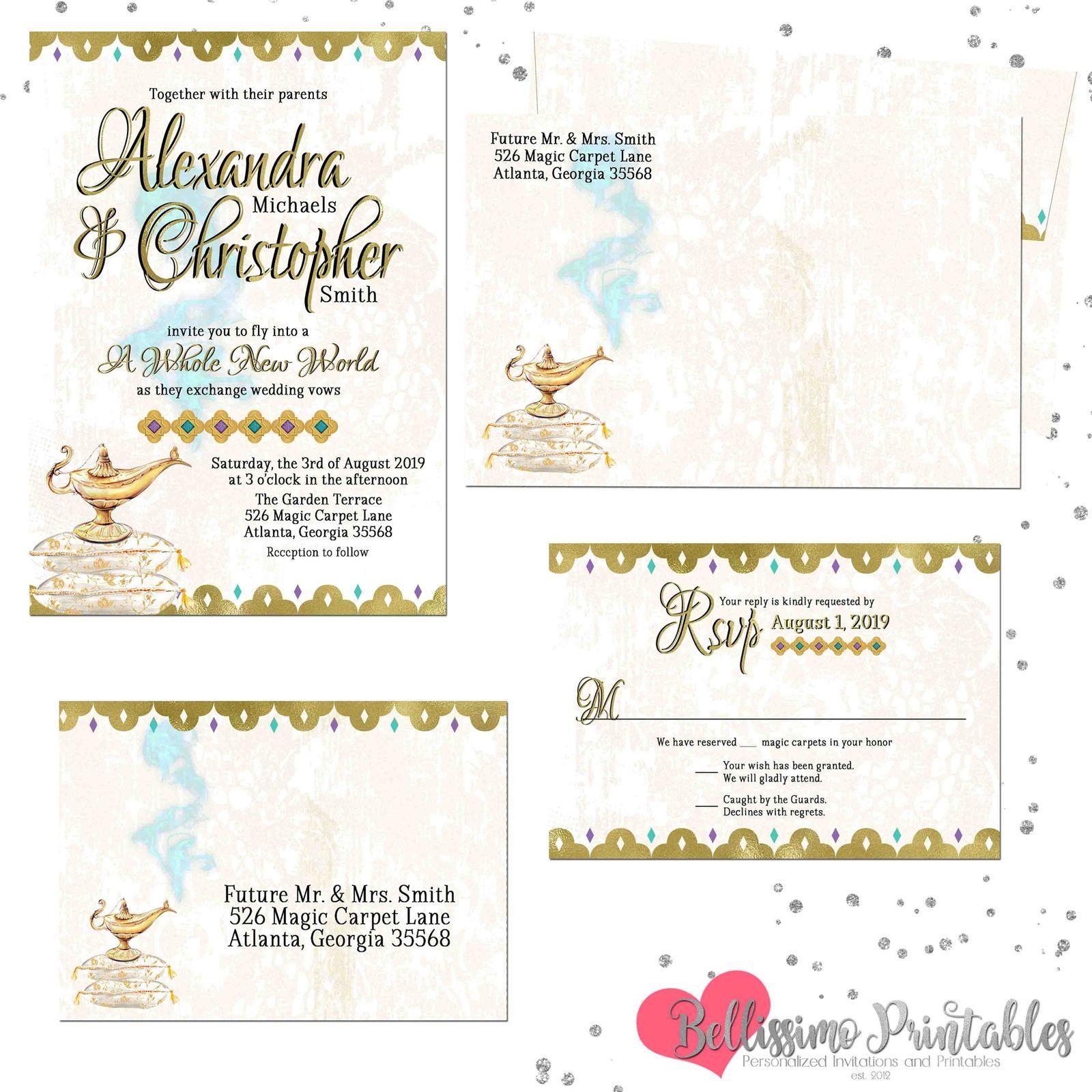 Arabian nights wedding invitation set with rsvp card and
