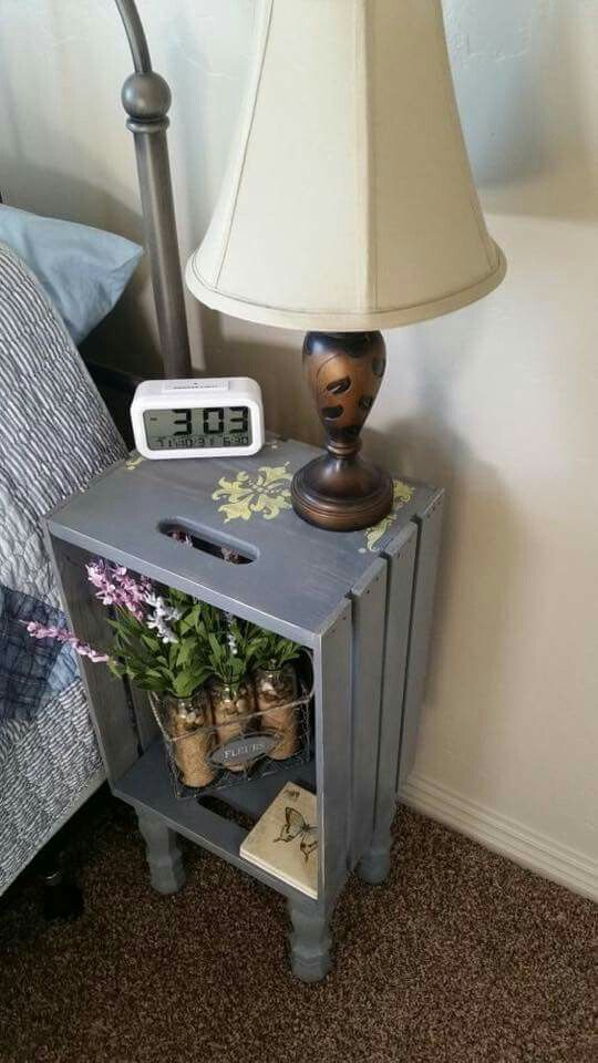 Easy Cheap Diy Bedside Table Project Out Of Wooden Crate Wooden