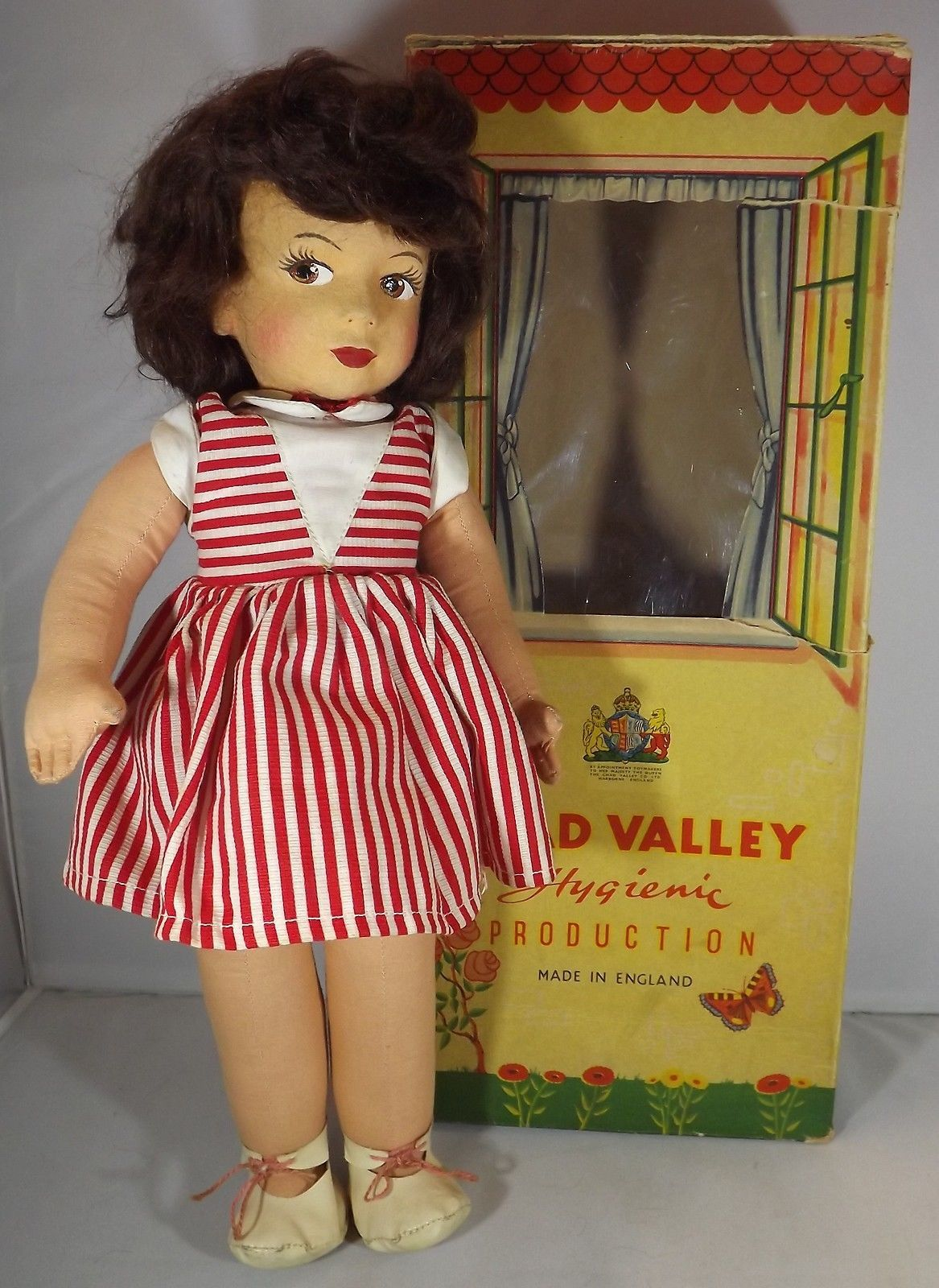 Vintage 1950s Boxed Chad Valley 16 Cloth Doll Felt Face Lovely Painted Eyes Ebay Doll Clothes Vintage Dolls Chad