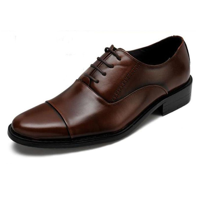 Hot Sale Business Men Shoes Dress Pointed Flats Shoes Genuine Leather Flat  Shoes Brand Oxford Wedding ... 6e8cbeea0c3a