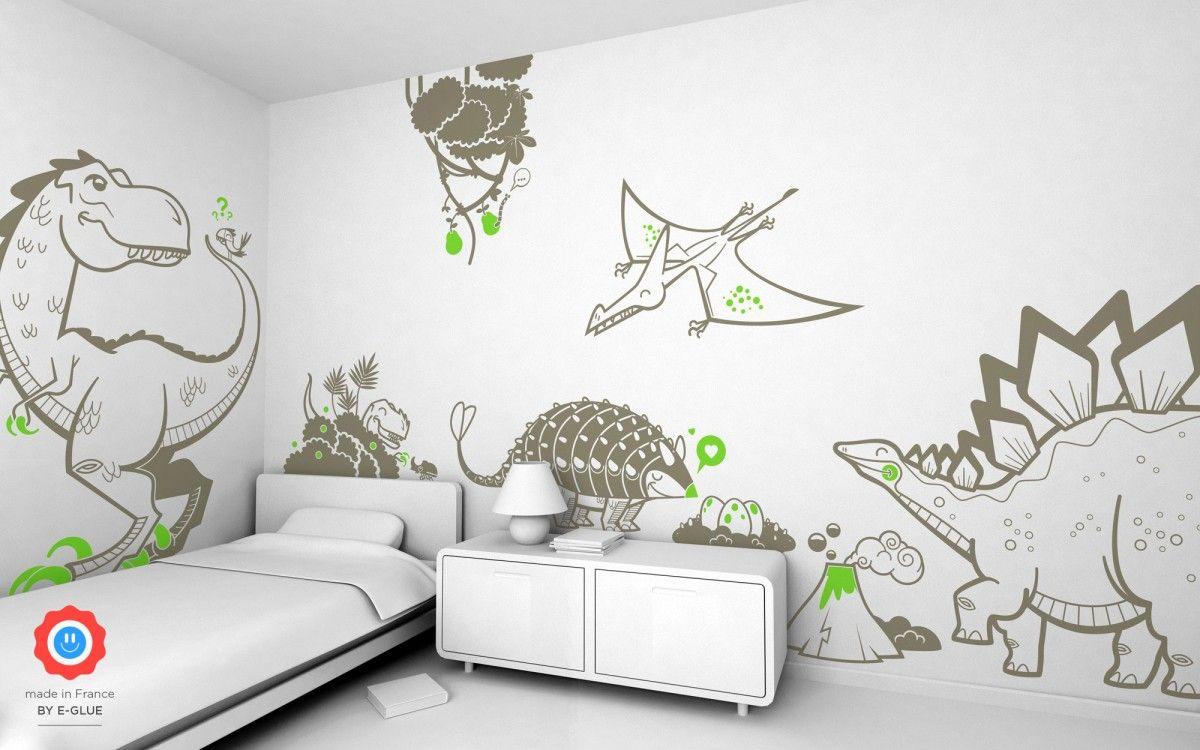 Stickers enfant dinosaures  Stickers chambre garçon, Deco chambre