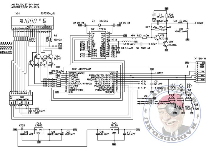 Схема простого синтезатора частот на микросхеме LC7218 и