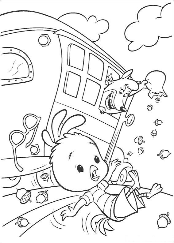 Chicken Little Fall In The Bus Coloring Page