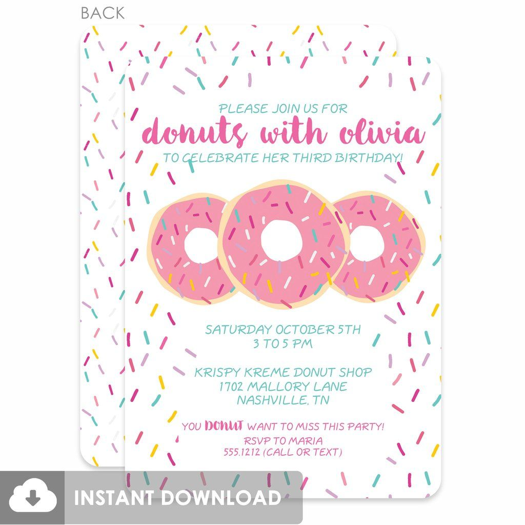 Donut Party DIY Printable Invitations (Pink) | donut party ...