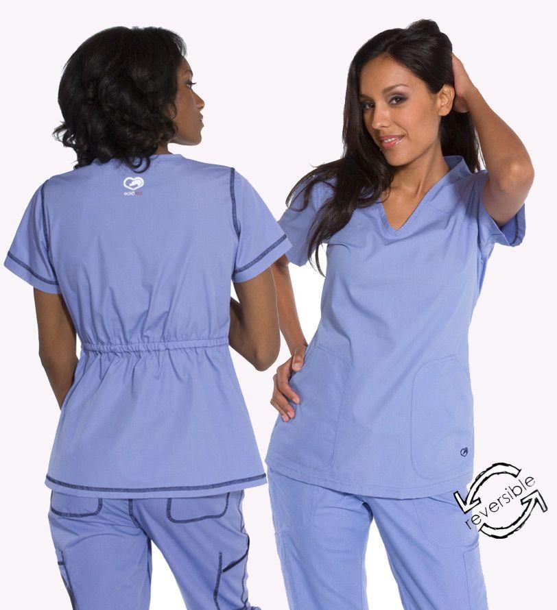 16b71a26f38 New Ecko Women's Delancey Reversible Solid Scrub Top Nursing Uniform -  starting at $25.99