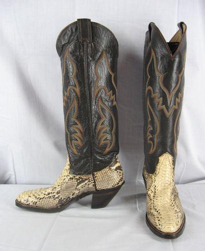 3a87341e689 Nocona Python Snake Skin Cowboy Western Boots 6.5 B Made In USA Womens